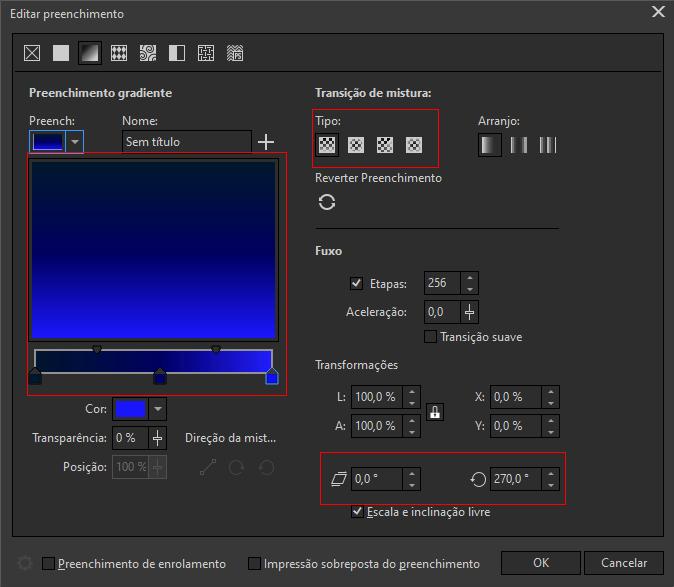 CorelDRAW Cartão digital aplicando e configurando gradiente