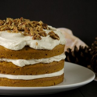 Pumpkin Cake with Spiced Cream Cheese Frosting and Candied Pecans