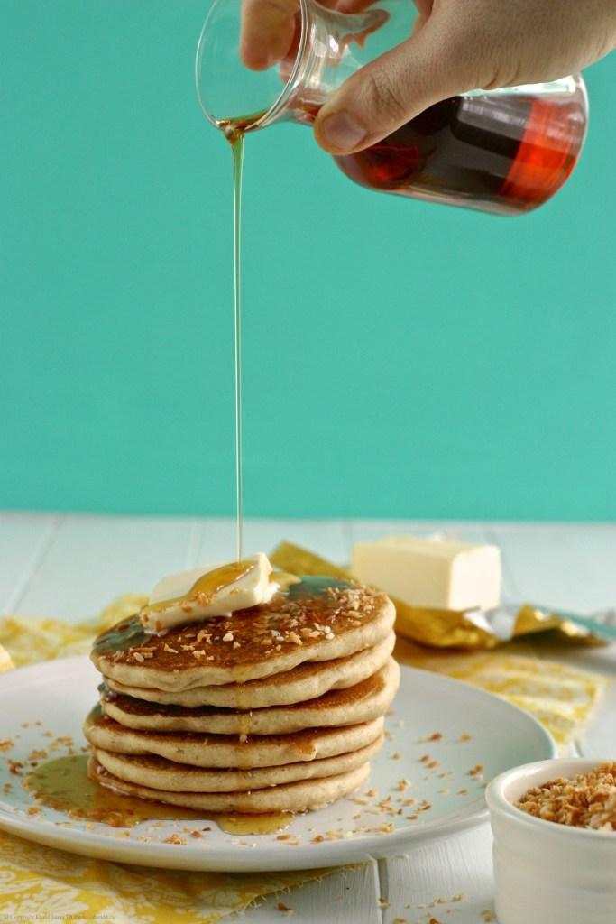 Gluten-Free, Vegan, Toasted Coconut Pancakes