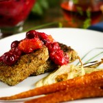 Pumpkin Seed Crusted Tofu with Cranberry Relish