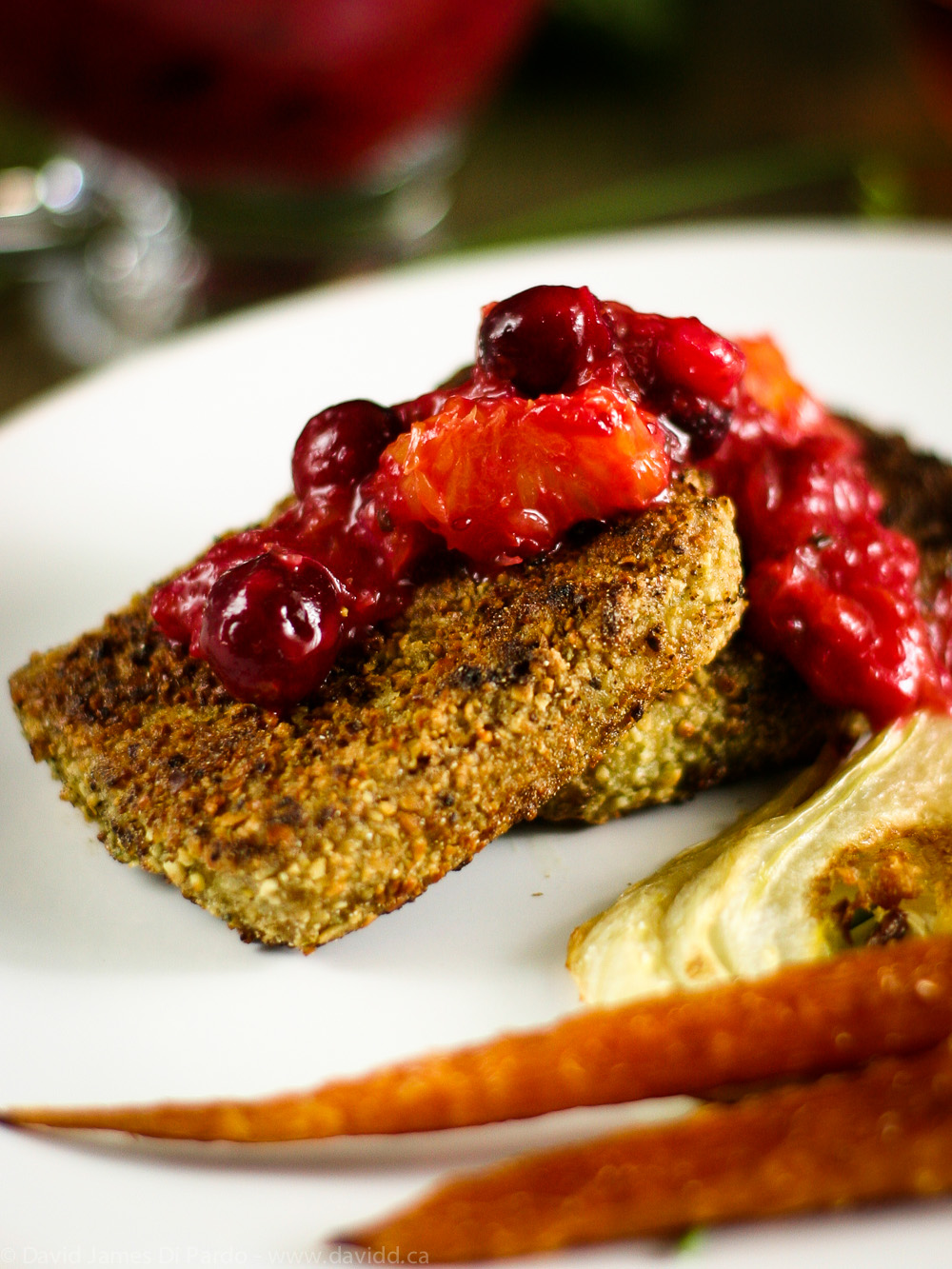 Breaded Tofu with Cranberry Sauce