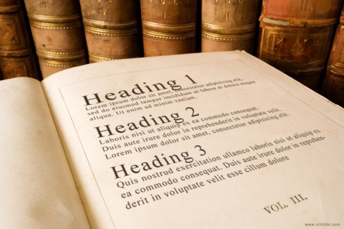 Headings in a book