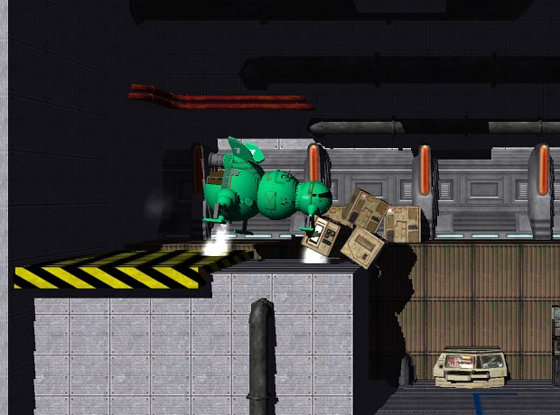 Starbug thruster screenshot, knocking over boxes