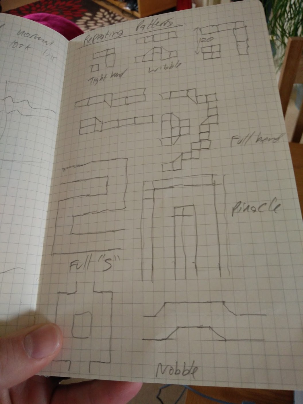 Notebook showing pieces