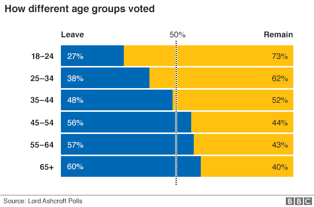 Graph showing vote by age