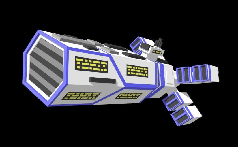 low-poly Spaceship carrier