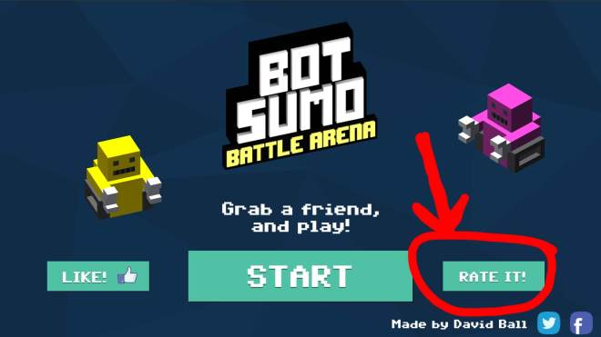 "botsumo menu screen with ""rate it"" highlighted"