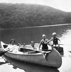 four people and canoe in summer for piano suite