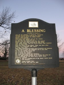historical marker with Blessing