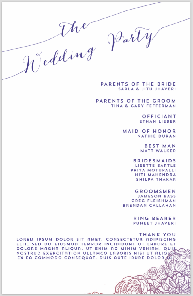 Fall American wedding program