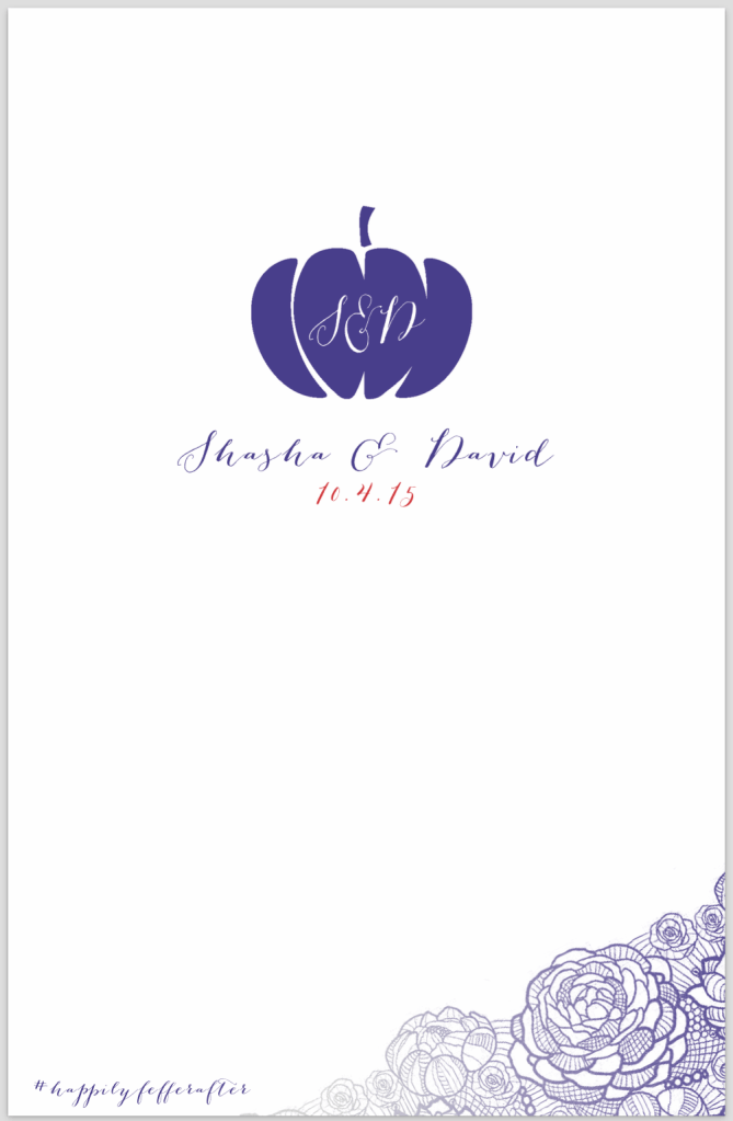 Front cover of Fall American wedding program