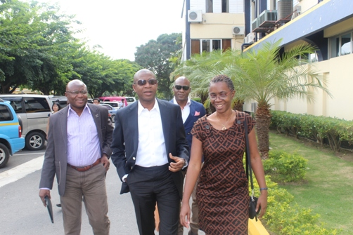 The trade delegation arrives at UTECH, greeted by Alumni relations Manager, Cheryll Massam