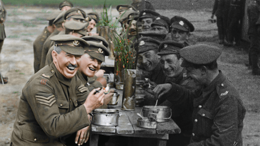 Image partially colorized from film footage of WWI from the movie They Shall Not Grow Old. Credit: Warner Bros. Entertainment