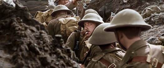 Colorized film footage of a trench in WWI from the movie They Shall Not Grow Old. Credit: Warner Bros. Entertainment