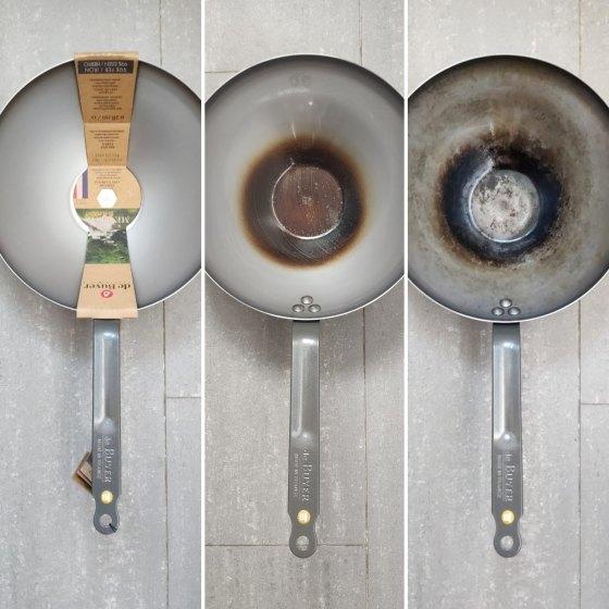Curar un wok en casa evolución del proceso