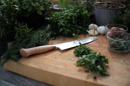Cuchillo de damasco para cortar verduras