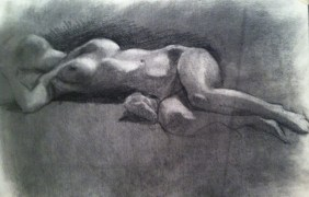 Figure drawing, charcoal on paper, $95