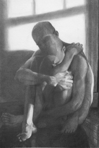 Internal Conflicts, graphite on paper, 18″x24″, graphite on paper, sold
