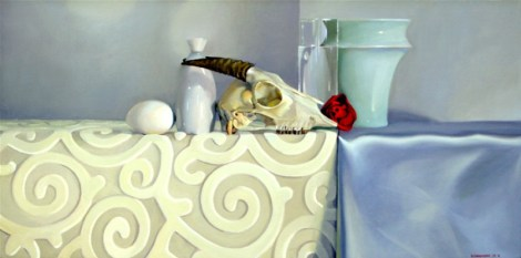 Bones (female), 2004, acrylic and oil on panel, 16″x 32″, $3250 sold collection of the Simon family