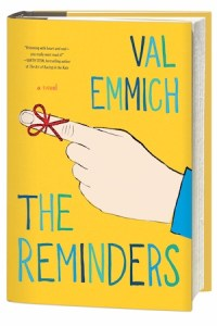 Cover of The Reminders by Val Emmich; a string is tied around the pointing index finger of a white hand