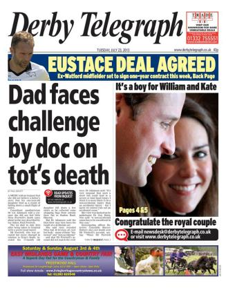 A smiley picture on the front of the Derby Telegraph