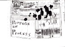 """""""Purpose in Process"""" Invoice put through paper shredder and then reassembled"""