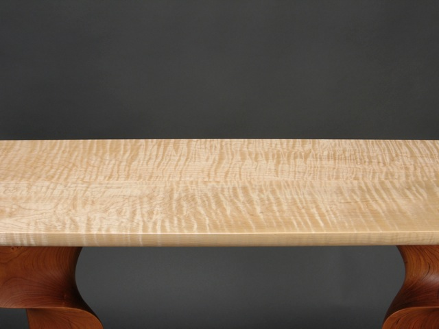 Custom Contemporary Console Table Carved Cherry With