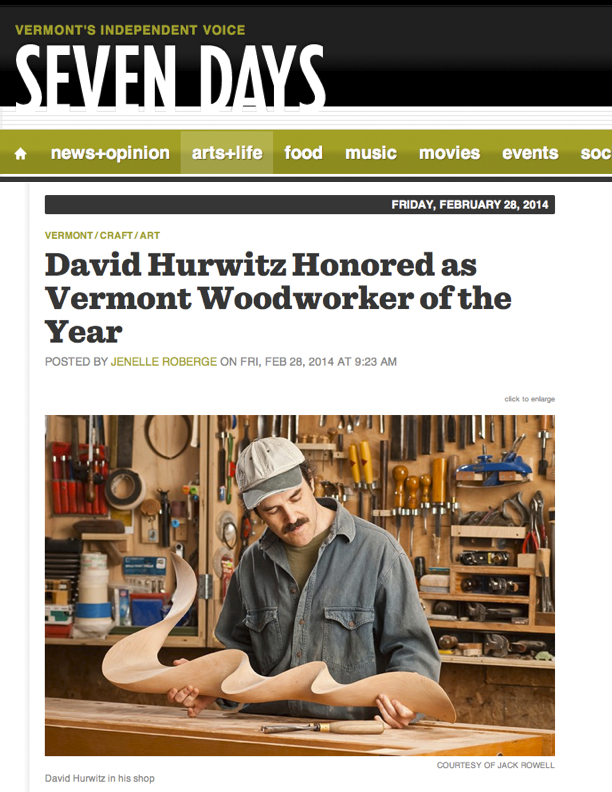 Vermont Woodworker of the Year, Seven Days, Burlington, Vermont, David ...