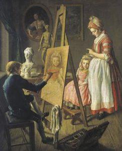 Maman faisant portraiturer sa progéniture