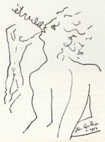 Dessin de Jean Cocteau pour le premier numéro d'Arcadie