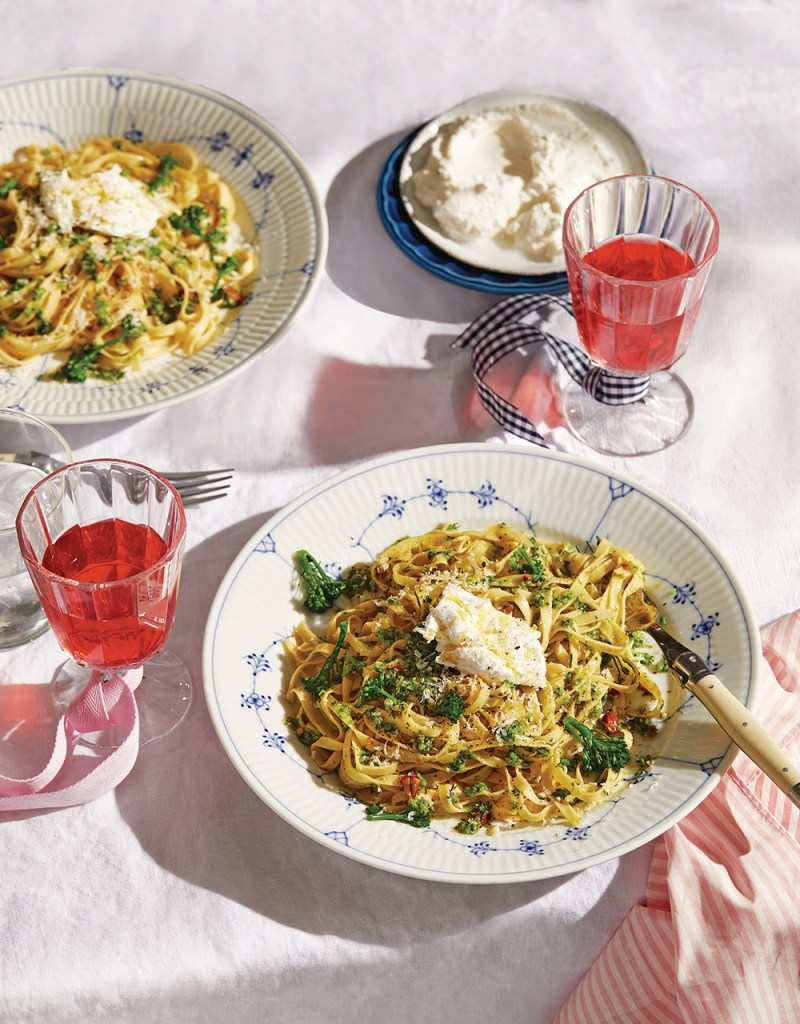 Tagliatelle with broccolini, almonds, mint and goats curd