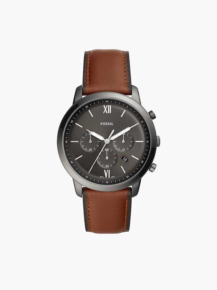 fossil mens watch black tan band