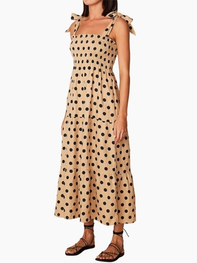 Faithfull The Brand Rianne Tie Sleeve Polka Print Midi Dress