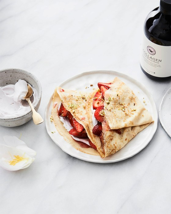 Coconut crepes with rose yoghurt recipe