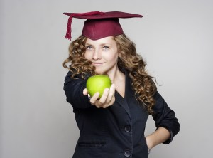 College student with apple