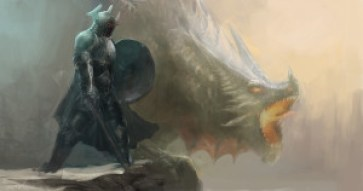 knight and dragon on cliff
