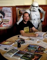 2008 - David J Rodger signing books at a Science Fiction convention - Storm Trooper Fan