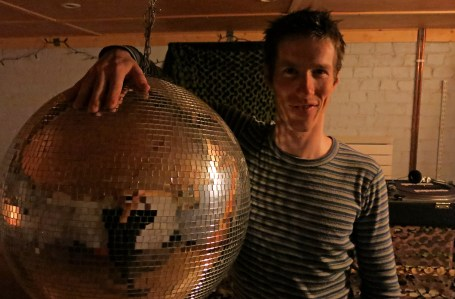 Giant Disco Ball in a home made club