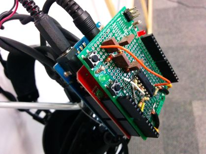 Arduino shield to perform signal filtering and conditioning for the textural music glove.