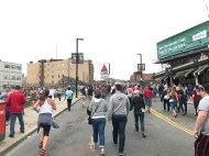 Fans flocked to the Boston Marathon following a Red Sox win on Patriot's Day