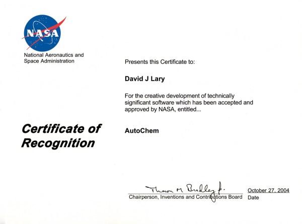 AutoChem Certificate October 27, 2004