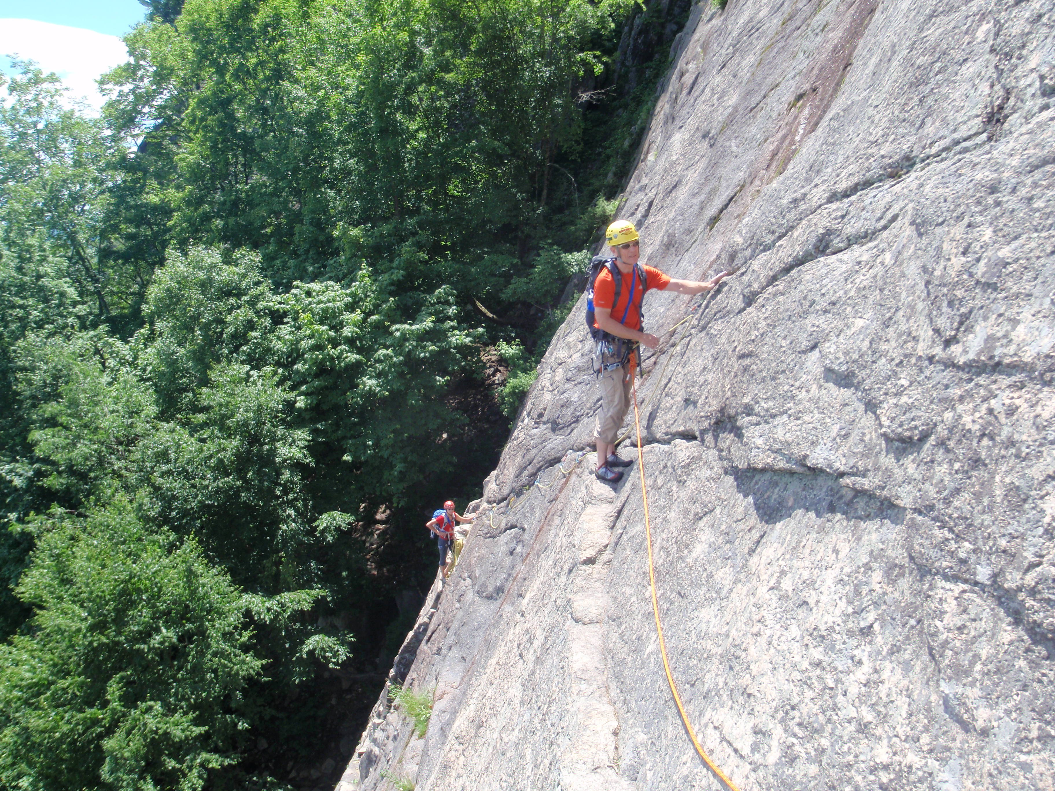 Crossing the traverse on Pitch 2 of Thin Air