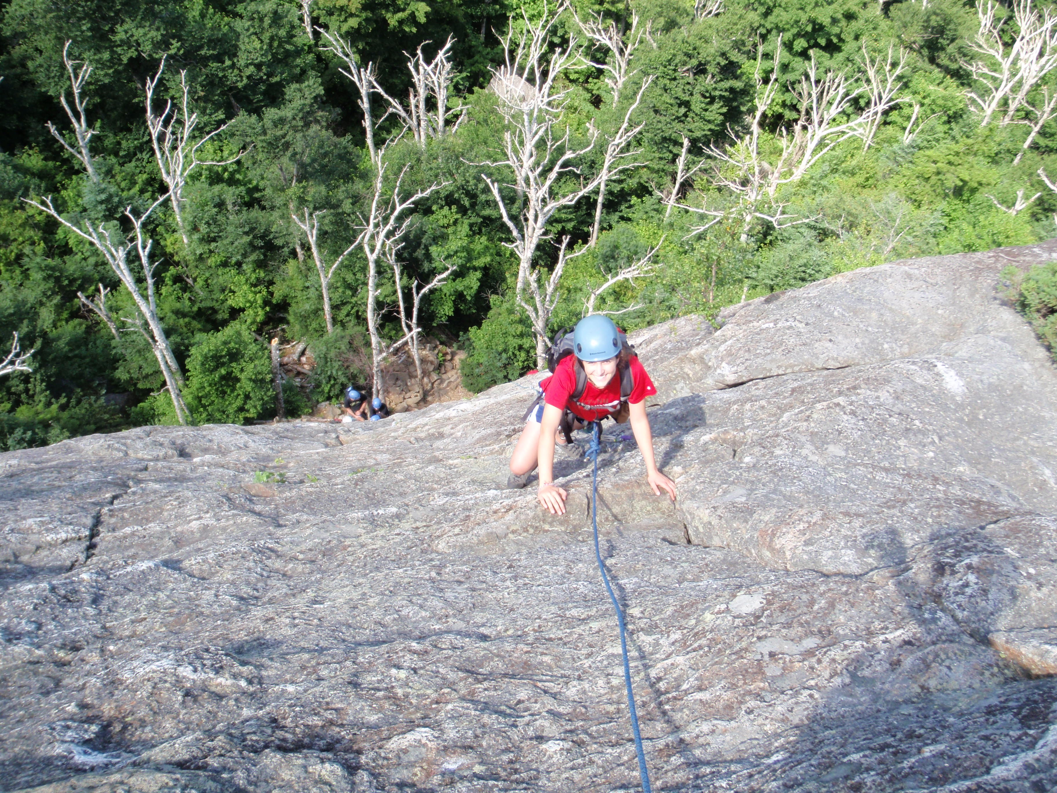 Caitlin finding her way to the 1st anchor on our climb...