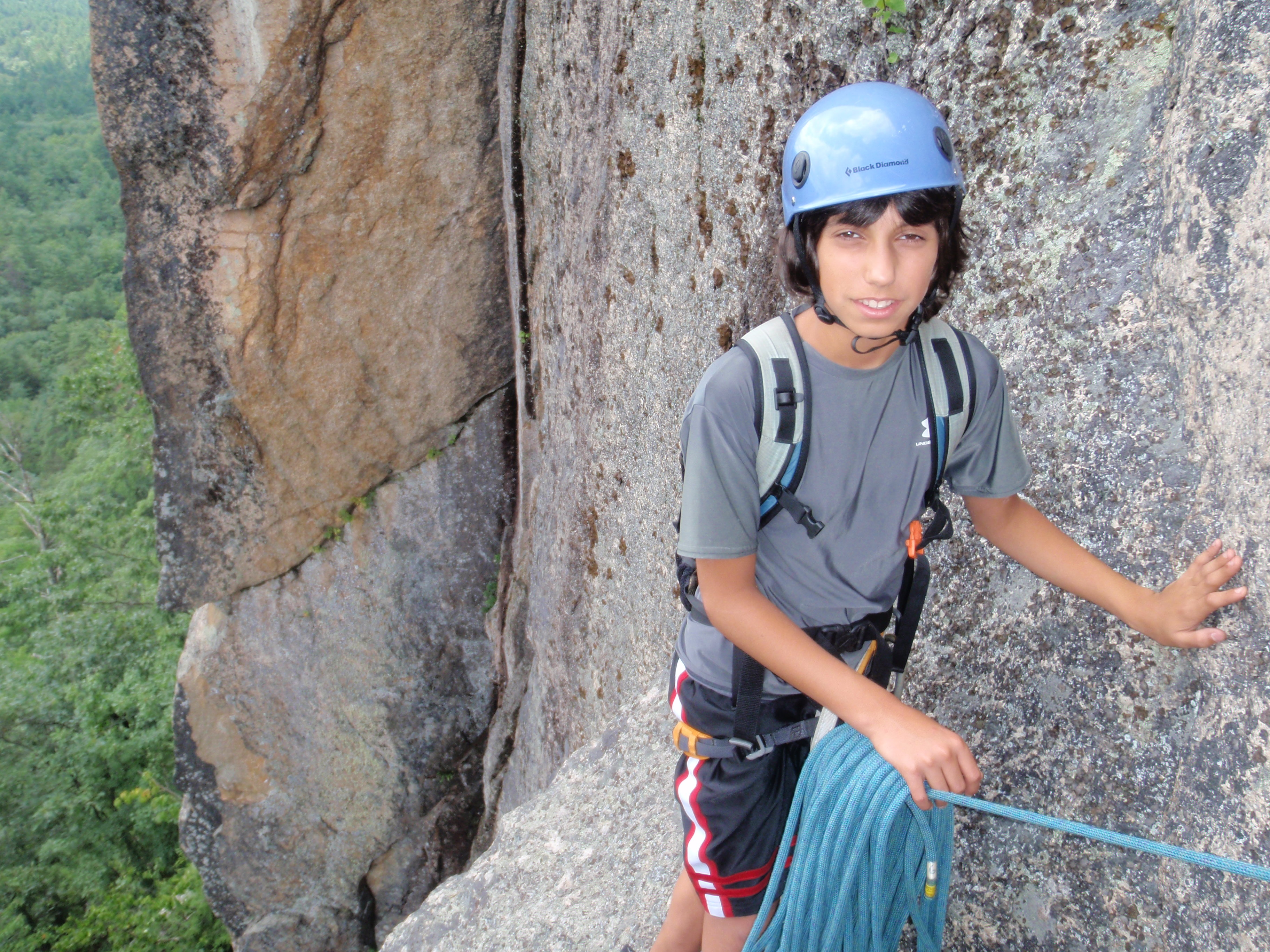 """Andy hanging out at the """"hanging belay"""" stance..."""