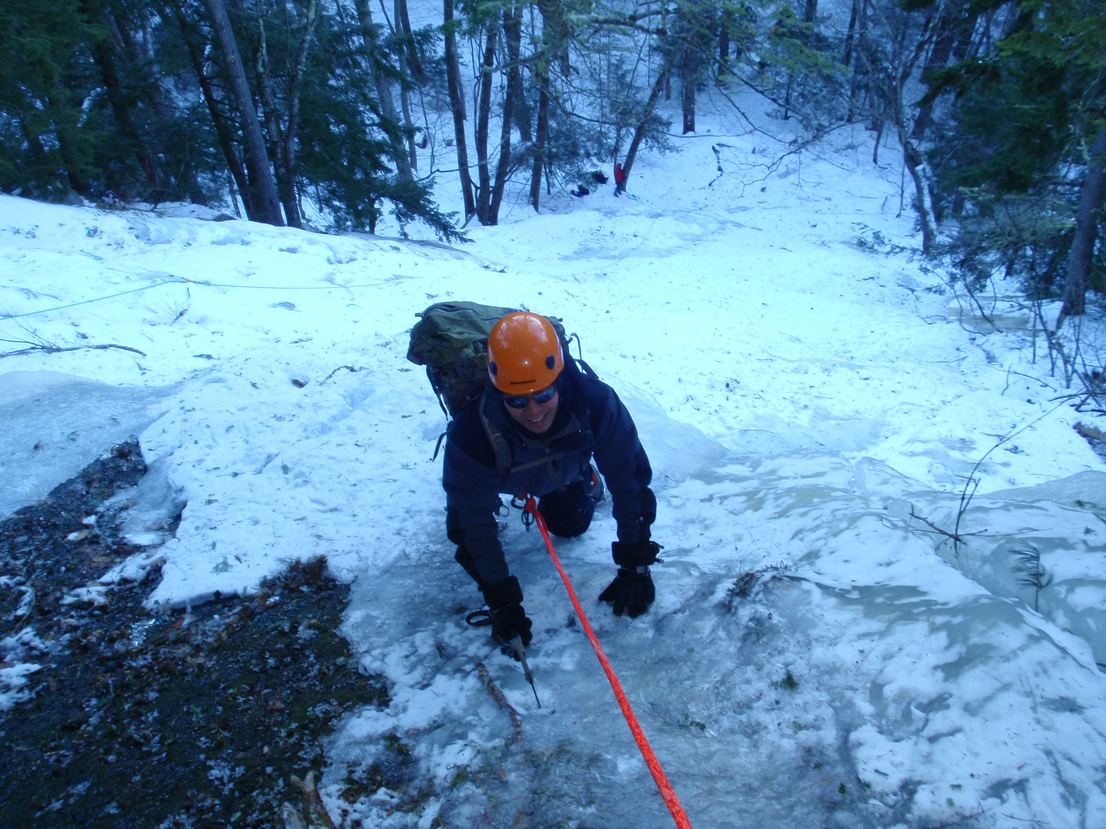 Justin finishing the route...
