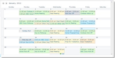 Color code calendar in SharePoint