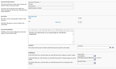 SharePoint Search Keywords