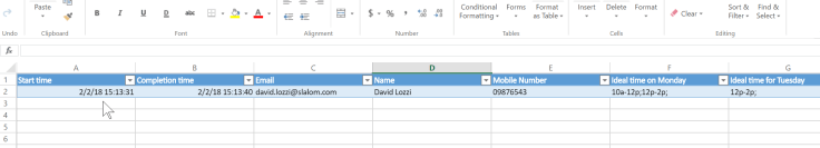Excel with data from Forms
