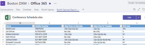 Microsoft Excel Forms Results in Teams