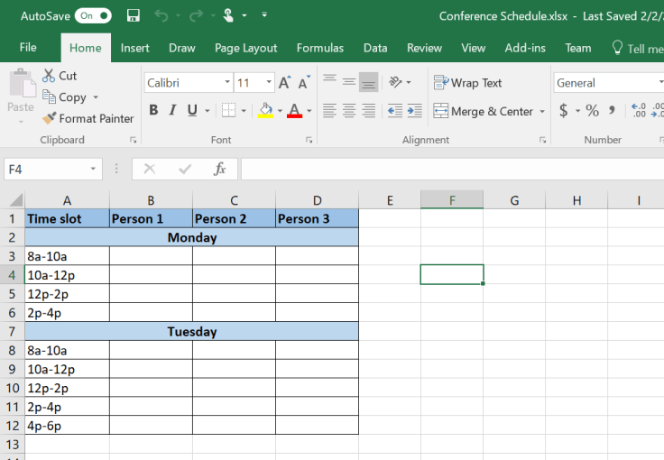 Brand New Excel file